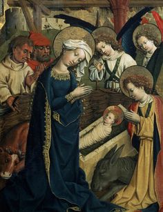 The Birth of Christ, Circa 1445, Master of Lichtenstein Castle,  painting on fir panel, The State Pushkin Museum of Fine Arts, Moscow