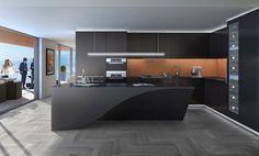 schwarze küchengestaltung mit oranger küchenrückwand