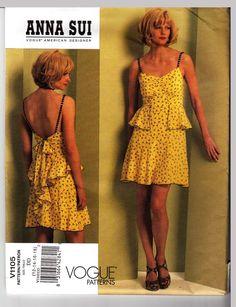 Vogue pattern 1105 Designer Anna Sui BoHo Flirty Summer Dress