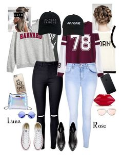 """""""Rose and Luna Fall"""" by lunalynch13 ❤ liked on Polyvore featuring Topshop, Converse, Nasaseasons, Casetify, ZeroUV, Wildfox, Glamorous and Lulu Guinness"""