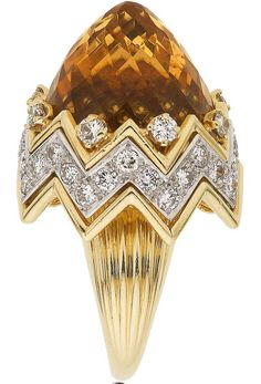Divine Design Citrine, Diamond, Gold Ring, Verdura