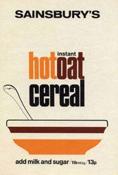 Vintage Sainsbury's Instant Hot Oat Cereal Box