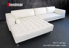 New Modern Euro Design White Leather Sectional Sofa w/ extra wide chaise S8171LW