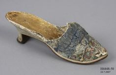 H4448-50 Mule, (single), womens, silk brocade / silk / leather, maker unknown, [France], c1775-1780 - Powerhouse Museum Collection