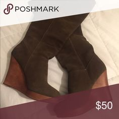 Urban Outfitters brown wooden boots Pre- owned and good condition!!! Urban Outfitters Shoes Heeled Boots
