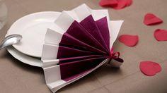 Pliage de serviettes en papier- Eventail -Labelleadresse.com