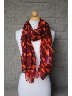 Virginia Tech Maroon and Orange - Virginia State Spirit Scarf on Etsy, $30.00