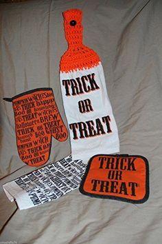 4 piece set HALLOWEEN Trick or Treat MEDIUM weight CROCHET TOWEL dish cloth pads #handmade