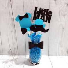 Turquoise and Black Little Man Centerpiece Vase