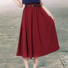 2016 Yaz Elastik Bel Uzun Etek Tüm Maç Pilili Etekler Edebi Saia Longa 6 Renkler Faldas Largas Rahat Katı Jupe Femme(China (Mainland))