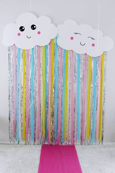 a Kids Birthday Party - Party Details Galore. -Planning a Kids Birthday Party - Party Details Galore. - GBP - 100 Shiny Stars & Foil Tinsel Hanging Foil Balloon Swirls Ceiling Decoration & Garden Linda Chuva de Amor 💓💓 via Vintage Birthday Parties, Rainbow Birthday Party, Rainbow Theme, Unicorn Birthday Parties, Birthday Party Themes, Rainbow Shop, Cloud Party, Rainbow Party Decorations, Diy Birthday Decorations