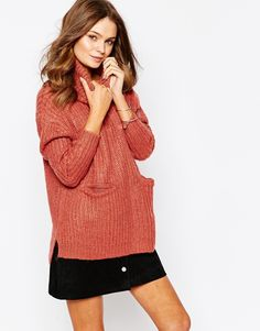 Image 1 of First & I Roll Neck Sweater with Pocket Detail