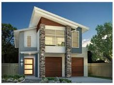 These images below are a compilation of some of the narrow house design for a small and narrow lot or space available to build a small two story house. Double Storey House Plans, Double Story House, Narrow Lot House Plans, 2 Storey House, Storey Homes, Modern House Facades, Modern House Design, 2 Story House Design, Narrow House Designs
