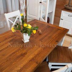 Rustikální jídelní stůl je součástí kolekce Sweet Home, která upoutá pozornost všech, kteří mají rádi dřevěný masivní nábytek. Sweet Home, Dining Table, Rustic, Furniture, Home Decor, Country Primitive, Decoration Home, House Beautiful, Room Decor