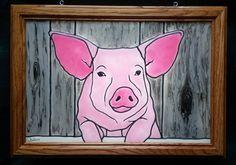 Pig Window Art faux stain glass painted glass sun catcher Wilbur piggie barn farm animals pink