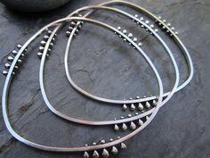 Bangles | Sasha Bell. 'Tribal Hoops'. Sterling silver.
