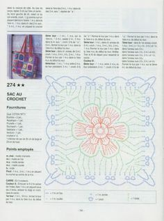 Flowery Granny Square for a Handbag with Diagram