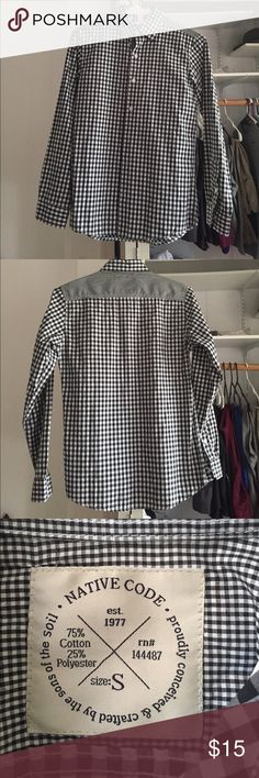 Native code checkered  black n white button down Unfortunately does not fit me. Love the design and was looking forward to wearing it but does not bottom over my chest. Good for someone who is slim and not athletically built. Perfect condition! native code  Shirts Casual Button Down Shirts