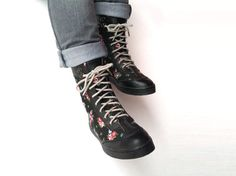 black women boots red flowers and black leather shoes handmade Rangkayo sneakers