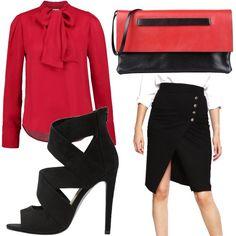 Che ne dite di questo outfit? Camicia rossa fuoco con fiocco, gonna a portafoglio nera con bottoni dorati, tacco alto e fasciante nero, pochette rossa e nera. Per non passare inosservate.
