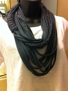 T-Shirt Scarf - Infinity Scarf - Multi-Stranded Scarf -  Fabric Necklace - Eco-Friendly -T-Shirt Necklace. $25.00, via Etsy.