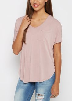 image of Mauve Slouchy Dolman Pocket Tee