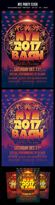 NYE Party Flyer Template PSD. Download here: https://graphicriver.net/item/nye-party-flyer/17464004?ref=ksioks