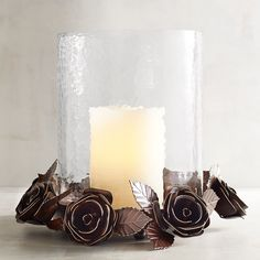 Rustic Rose Large Glass Hurricane Candle Holder Brown