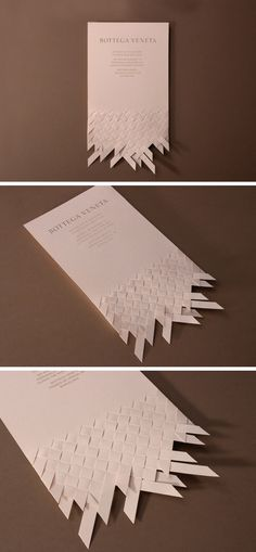 Marnich – Invitation design proposal for the opening of Bottega Veneta's flagship store in Barcelona, 2012 Paper Design, Design Art, Print Design, Web Design, Origami, Typography Design, Branding Design, Paper Art, Creative Business Cards