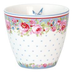 GreenGate Stoneware Latte Cup Simone Blue H 9 cm | NEW! Autumn/Winter 2014 | Originated-Webshop