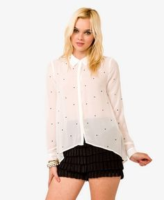 Rhinestoned High-Low Shirt | FOREVER21 - 2021840530