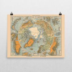 North Pole Map Print,  Arctic Ocean Poster,  Polar Explorations, Retro Home Decor