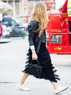 Outfit Ideas to Bring Your Leather Jacket Back to Life via @WhoWhatWear