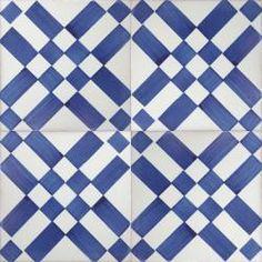 3410 Portuguese Spanish wall decor tiles azulejo blue checkered enxaquetado