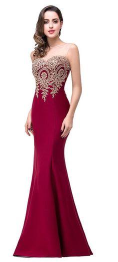 550714e5789 Robe de Soirée longue sexy dos nu. Robe de couleur rouge. Forme   Sirène