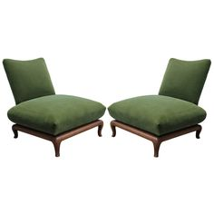 Pair Of James Mont Style Green Mohair Slipper Chairs | From a unique collection of antique and modern slipper chairs at https://www.1stdibs.com/furniture/seating/slipper-chairs/