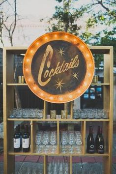A retro marquee bar sign. Cocktail Sign, available to rent from Ooh! Events