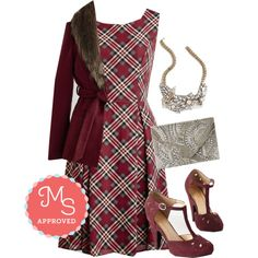 In this outfit: I Rest My Grace Dress in Plaid, True to Warm Coat, Glisten Up! Necklace, Let it Bead Clutch, The Zest is History Heel.