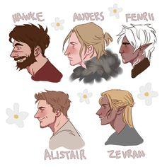 Hawke, Anders, Fenris, Alistair and Zevran