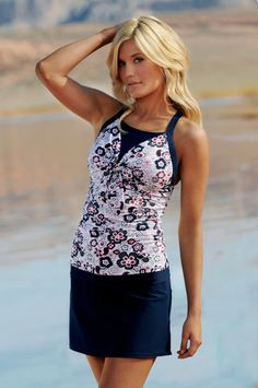 BowTie Tankini in Nautical Flowers from Divinita Sole Swimwear by Diviine Modestee.