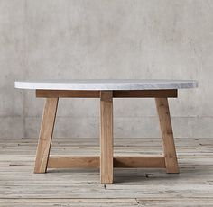 Salvaged Wood & Marble Beam Round Dining Table