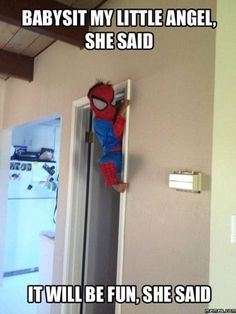 Funny pictures about Babysitting Spiderman. Oh, and cool pics about Babysitting Spiderman. Also, Babysitting Spiderman. Funny Cute, Funny Kids, Haha Funny, Funny Stuff, Funny Things, Random Stuff, Funny Shit, Funniest Things, Kid Stuff