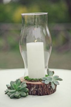 candle stand idea...no vase and moss instead of succulents