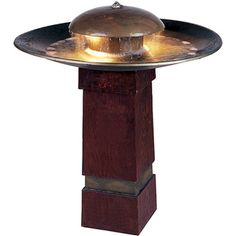 "Nabia Outdoor Floor Fountain Lighted birdbath/fountain $210, 30"" tall, 27"" round"