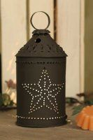 Punched Barn Star Paul Revere Jr. Wax Warmer - Rustic Brown Looks like a small Paul Revere Lantern! Has a punched barn star for the light to shine through, very beautiful especially at night! http://orthodoxincense.com/warmerscandles.html