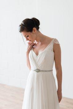 Naomi Neoh Margot wedding dress. Plissé silk chiffon dress with French lace appliqué details, shown with the MARLENE belt.