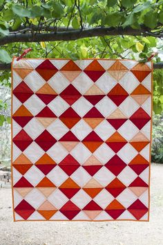 Red + Orange Diamond Quilt Julie Williams