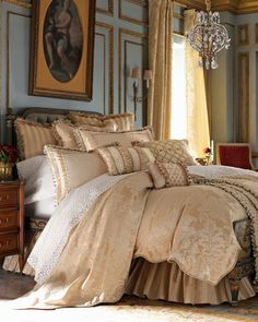 Regal Bedroom...Castle Crush...oh, how I just adore this elegantly dressed bed!