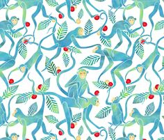 Fruitful Year of the Monkey custom wallpaper by vo_aka_virginiao for sale on Spoonflower Textiles, Textile Patterns, Textile Design, Fabric Design, Print Patterns, Surface Pattern Design, Pattern Art, Pattern Designs, Monkey Illustration