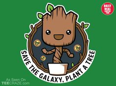 Galaxy Forest Conservation Program T-Shirt - http://teecraze.com/daily-deal-4/ - Designed by Papyroo #tshirt #tee #art #fashion #groot